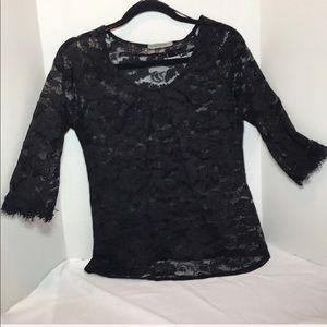 ELEGANT sheer black lace floral print blouse S